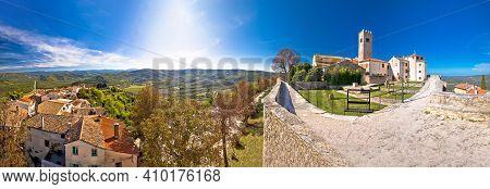 Motovun. Idyllic Hill Town Of Motovun And Mirna River Valley Panoramic View. Istria Region Of Croati
