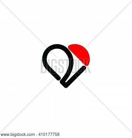 2d Love Logo. Letter 2d Typography Art.