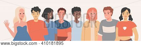 People Of Different Ethnicity Wearing Braces Vector Flat Illustration. Group Of Men And Women Smilin