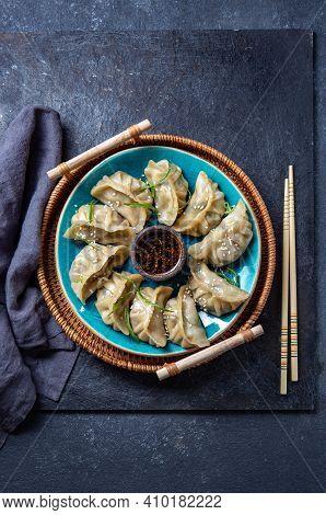 Asian Potstickers Dumplings Gyoza With Soy Sauce