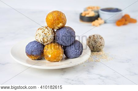 Homemade Blue Matcha Butterfly Pea Tea Powder Energy Balls In A Ceramic Plate Healthy Sweets Made Of