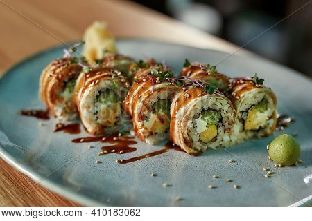 Delicious Fresh Sushi Roll Set With Unagi And Sesame Decorated And Served On A Plate. Sushi Menu, Ja