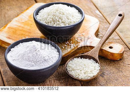 Homemade Fine And Ground Rice Flour, Healthy Culinary Ingredient, Gluten Free