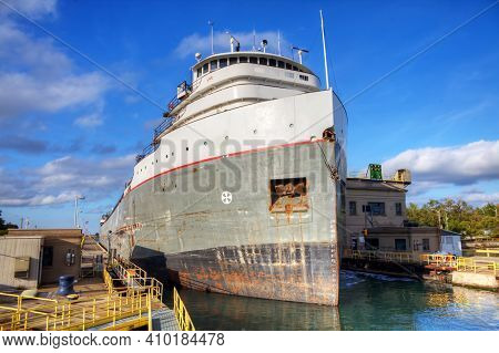 A Lake Freighter Moving Through The Welland Canal In Canada