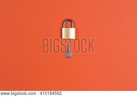 Lock And Key On Orange Background Safe, Safety, Secret,