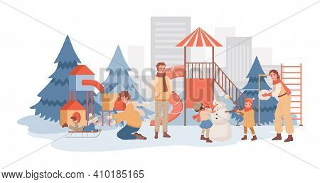 Parents Spending Time Together With Their Children At Winter Playground Vector Flat Illustration. Ki