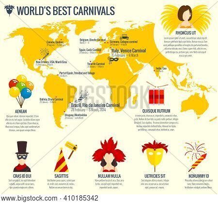 World Best Carnival Season Infographic Poster Print With German Carriage And Venetian Eye Mask Abstr