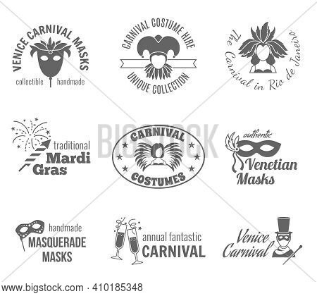 Carnival Venetian And Brazilian Traditional Masks And Costumes Label Black Set Isolated Vector Illus