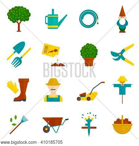 Country Orchard  Vegetable Garden Harvest Flat Pictograms Collection With Irrigation System Symbols
