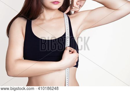 Sporty Girl Measures The Chest And Chest Height, Shoulder With A Measuring Tape. Body Measurement Fo