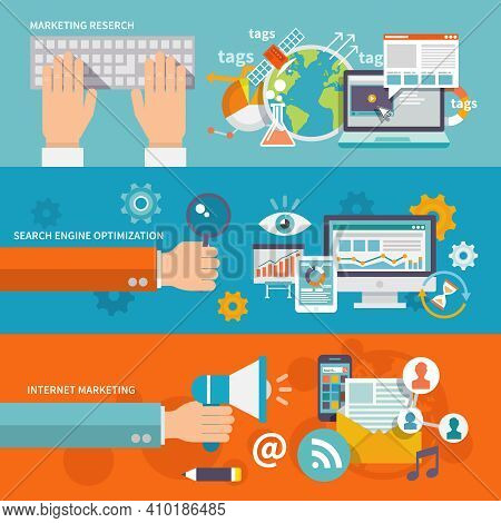Seo Internet Marketing Banner Flat Set With Research Search Engine Optimization Isolated Vector Illu