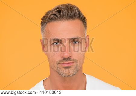 Skincare Is Essential. Handsome Man Yellow Background. Caucasian Guy With Normal Skin And Facial Stu