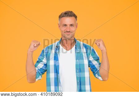 Facial Care. Skin Ageing. Mental And Physical Health. Handsome Mature Man Casual Wear. Confident Guy