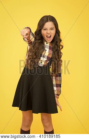 Hey You. Manners Of Hothead. Girl Long Hair Cool Pointing Forward. Child Pointing Camera Yellow Back