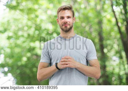 Sportsman Inspiring Confidence. Handsome Sportsman Or Sports Trainer On Blurred Natural Background.