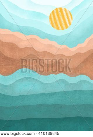 Boho Print. Abstract Landscape With Mountains And Sea Background. Terracotta Poster. Abstract Arrang