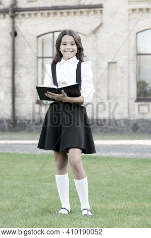 Lesson For Discerning Reader. Happy Schoolgirl Make Notes For Lesson. Little Child Prepare For Schoo