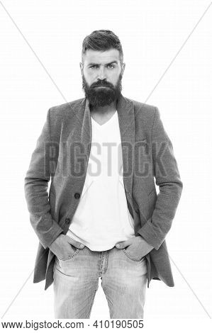 Casual Outfit. Menswear And Fashion Concept. Man Bearded Hipster Stylish Fashionable Jacket. Casual