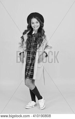 Fashionista. Happy Childhood. Wearing Autumn Raincoat. Back To School. Retro Girl Wear Uniform And P
