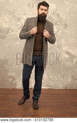 Male Fashion. Mature Man Businessman. Trendy Man With Beard. Casual Style. Bearded Hipster Autumn St