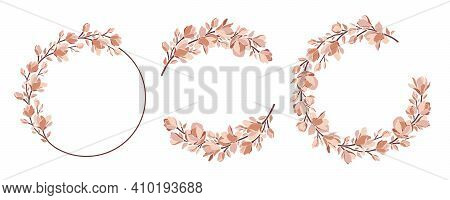 Set Of Wreaths In Pastel Color Palette. Floral Vector Frames With Magnolia Branches, Leaves, Bloomin