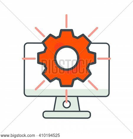Computer With Setting Gear Icon. Setting  Illustration. Flat Vector Icon. Can Use For, Icon Design E