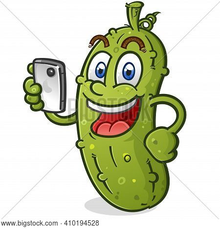 A Smiling Happy Pickle Using It's Mobile Phone To Shop Online, Take Photos And Browse The Internet
