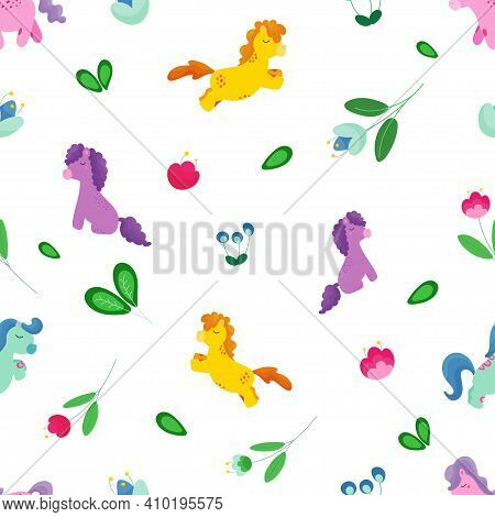Seamless Childrens Background With Fairy Ponies, Flowers And Leaves. Vector Illustration