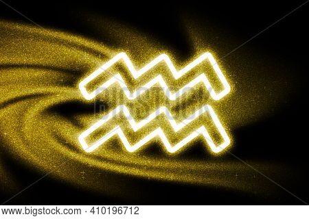Aquarius Zodiac Sign, Gold Glitter, Horoscope Astrology Background, Aquarius Horoscope Symbol, On Da