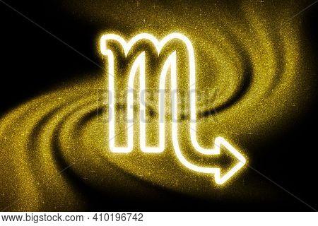 Scorpio Zodiac Sign, Gold Glitter, Horoscope Astrology Background, Scorpio Horoscope Symbol, On Dark