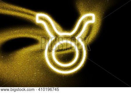 Taurus Zodiac Sign, Gold Glitter, Horoscope Astrology Background, Taurus Horoscope Symbol, On Dark B