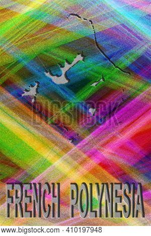 Map Of French Polynesia, Colorful Background, Copy Space