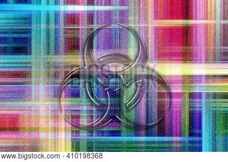Biohazard Symbol, Biohazard Sign, Biological Hazard, Colorful Checkered Background