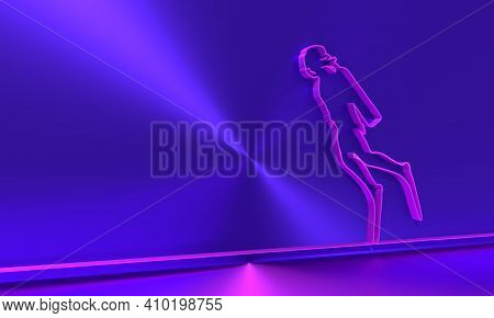 Silhouette Of Diver. Icon Diver. The Concept Of Sport Diving. Thin Line Style. 3d Rendering
