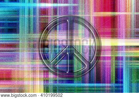 Peace Sign, Peace Symbol, Hippie Symbol, Colorful Checkered Background