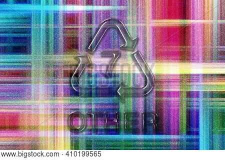 Other, Plastic Recycling Symbol Other 7, Colorful Checkered Background