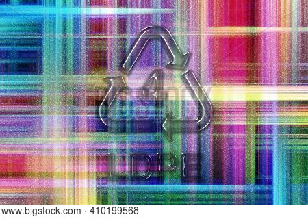 Ldpe, Plastic Recycling Symbol Ldpe 4, Colorful Checkered Background
