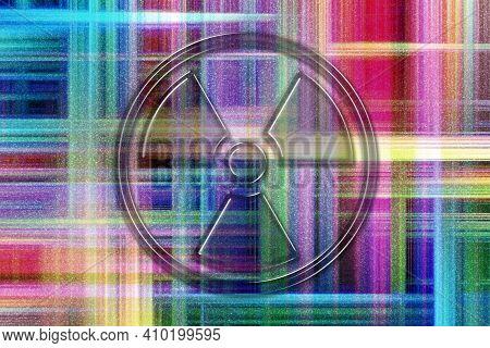 Radiation Sign, Radiation Symbol, Hazard Warning Sign, Colorful Checkered Background