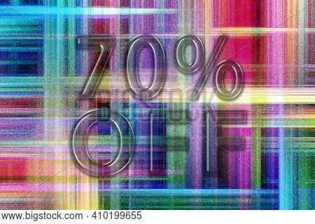 Sale And Discount Price Off Tag, Label Or Badge, 70 Percent Sale, Colorful Checkered Background