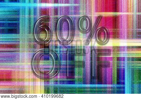 Sale And Discount Price Off Tag, Label Or Badge, 60 Percent Sale, Colorful Checkered Background