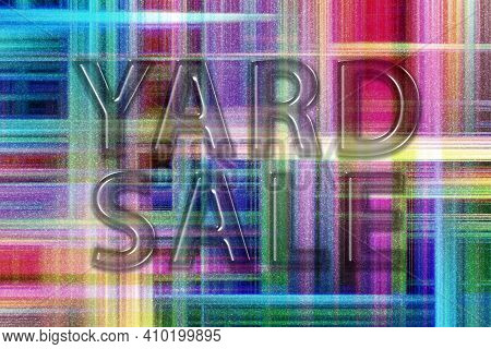 Yard Sale Sign, Yard Sale Text, Colorful Checkered Background