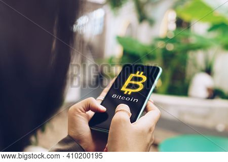 Woman Use Gadget Mobile Smartphone Earn Money Online Buy Bitcoin With Sign Icon Pop Up. Business Fin