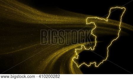 Map Of Congo, Gold Glitter Map On Dark Background