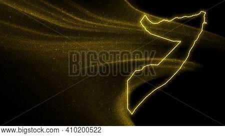 Map Of Somalia, Gold Glitter Map On Dark Background