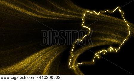 Map Of Uganda, Gold Glitter Map On Dark Background