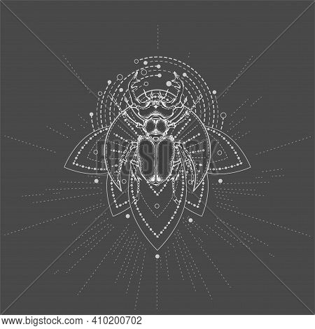 Vector Illustration With Hand Drawn Stag Beetle And Sacred Symbol On Black Background. Abstract Myst