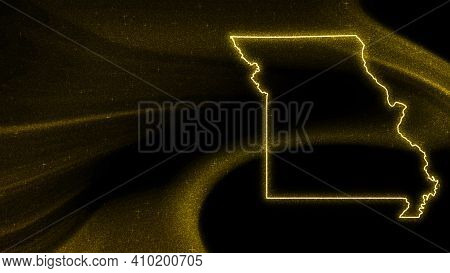 Map Of Missouri, Gold Glitter Map On Dark Background