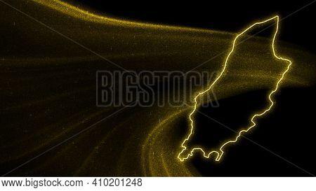 Map Of Isle Of Man, Gold Glitter Map On Dark Background