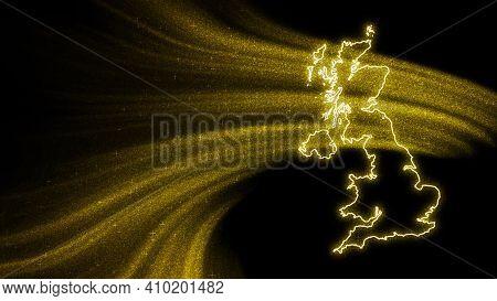 Map Of United Kingdom, Gold Glitter Map On Dark Background