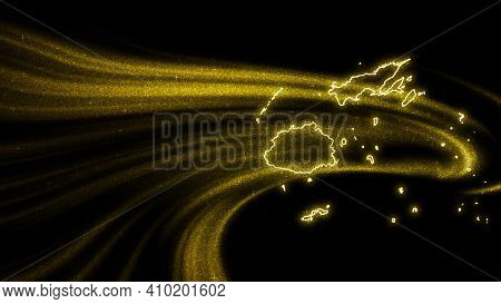 Map Of Fiji, Gold Glitter Map On Dark Background